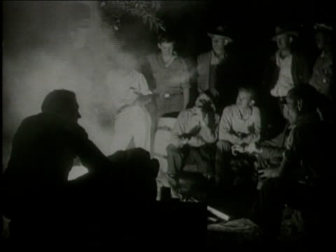 stockvideo's en b-roll-footage met a film fragment about the 1933 earthquake in long beach california / victims gather together for the night in a safe place / james whitmore's... - 1933