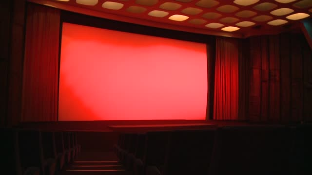 General views of Curzon cinema in Mayfair ENGLAND London Mayfair INT Interiors of Curzon Mayfair cinema including redcurtains closing and opening in...