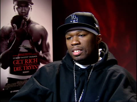 'get rich or die tryin'; 50 cent interview sot - wish violence didn't exist but it is a reality/ film show the repercussions of violent lifestyle - リアリティー番組点の映像素材/bロール