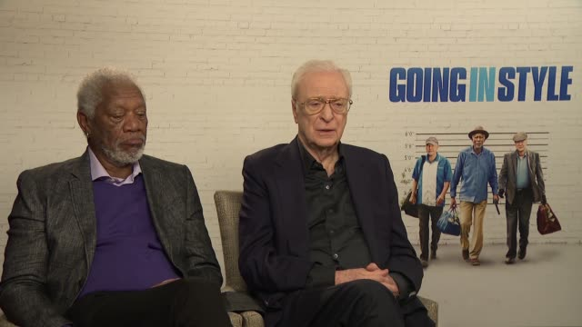 'going in style' michael caine and morgan freeman junket interview england london int michael caine and morgan freeman interview sot re new film... - morgan freeman stock videos & royalty-free footage