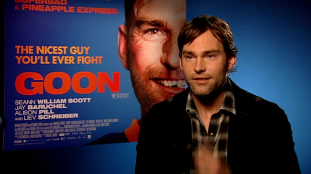 'goon' junket interview with seann william scott seann william scott interview sot on the film being a mix of rocky on ice but set in canada on him... - jay baruchel stock videos and b-roll footage