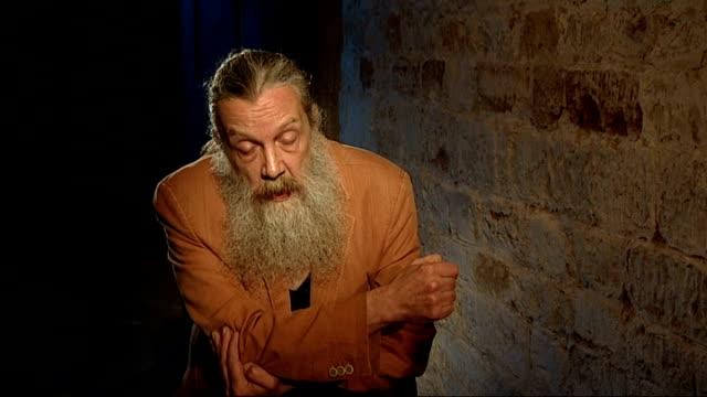 vidéos et rushes de graphic novel writer alan moore makes own film; england: northampton: delapre abbey: int moore interview sot - northampton