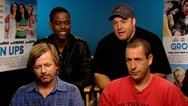 'grown ups' junket interviews england london int members of 'grown ups' cast chris rock kevin james david spade and adam sandler interviewed sot on... - adam sandler stock videos & royalty-free footage