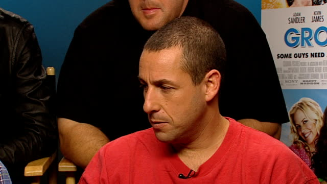 'grown ups' starring adam sandler sandler interview sot on whether he gave himself the best part - adam sandler stock videos & royalty-free footage