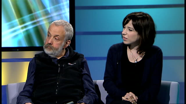 film 'happygolucky' interview with mike leigh and sally hawkins mike leigh and sally hawkins live studio interview sot - sally hawkins stock videos & royalty-free footage