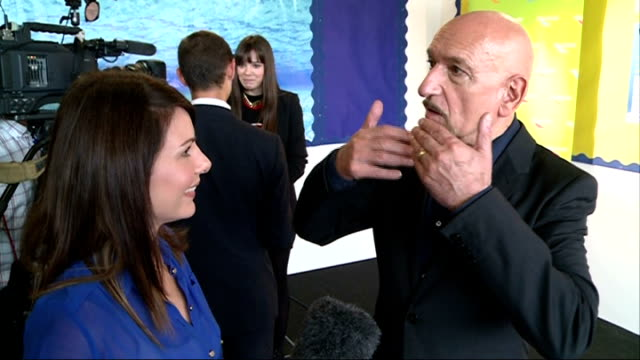 harrison ford and sir ben kingsley visit westminster academy school sir ben kingsley interview sot/ harrison ford talking to press/ harrison ford... - ben kingsley stock videos and b-roll footage