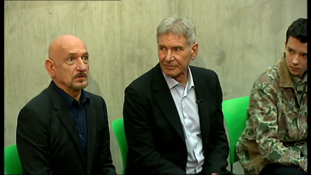 Harrison Ford and Sir Ben Kingsley visit Westminster Academy school ENGLAND London Westminster Westminster Academy INT Various of actors Sir Ben...