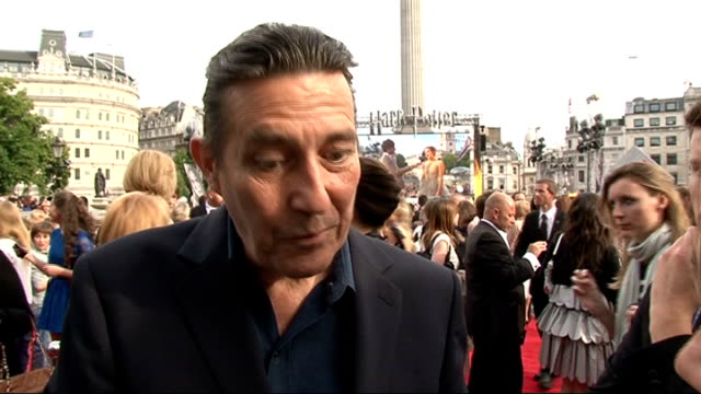 'harry potter and the deathly hallows part two' premiere celebrity interviews ciaran hinds interview sot on the new series of above suspicion / being... - oliver phelps stock videos & royalty-free footage