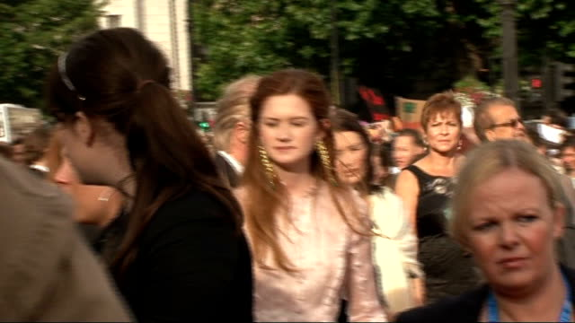 'Harry Potter and the Deathly Hallows Part Two' premiere celebrity interviews Robbie Coltrane along and hugging woman / various of Bonnie Wright...