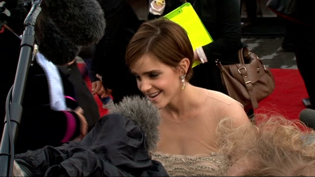 'Harry Potter and the Deathly Hallows Part Two' premiere celebrity interviews Alan Rickman signing autographs for fans / Emma Watson speaking to...