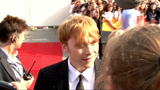 'harry potter and the deathly hallows part two' premiere celebrity interviews various of grint speaking to press / james and oliver phelps speaking... - oliver phelps stock videos & royalty-free footage