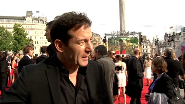 'harry potter and the deathly hallows part two' premiere celebrity interviews jason isaacs interview sot on the premiere being surreal / on it... - oliver phelps stock videos & royalty-free footage