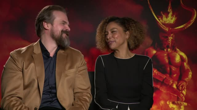 'hellboy' junket interviews; england: london: int david harbour and sophie okonedo interview re new film, 'hellboy' - sophie okonedo stock videos & royalty-free footage