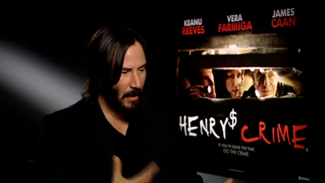 'henry's crime': keanu reeves interview; england: london: int keanu reeves interview sot - on being back in london / describes his character henry in... - keanu reeves stock videos & royalty-free footage