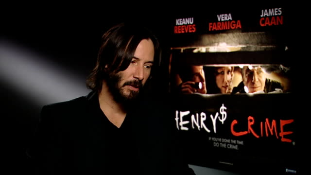 'henry's crime': keanu reeves interview; keanu reeves interview sot - on doing a famous speech from chekhov in the film / the metal plate in his neck... - keanu reeves stock videos & royalty-free footage