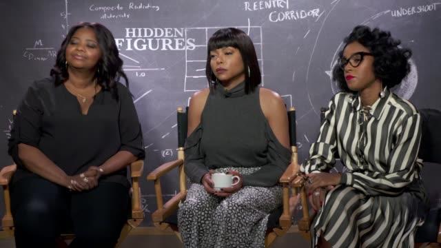 Hidden Figures junket interviews Film Hidden Figures junket interviews ENGLAND London INT Taraji P Henson Octavia Spencer and Janelle Monae interview...