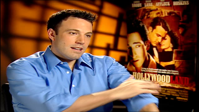 'hollywood' ben affleck and bob hoskins interview affleck interview sot on how things are pretty good for him life inevitably changes and stays... - ben affleck stock videos and b-roll footage
