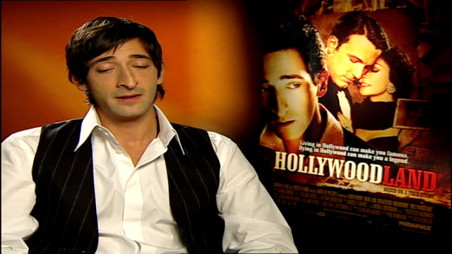 'hollywoodland' interviews with cast members adrien brody interview sot on london film festival and film festivals in general / advantages of playing... - adrien brody stock videos and b-roll footage