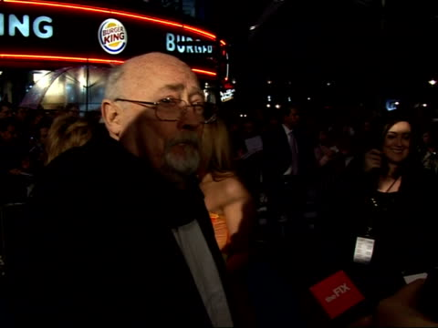 'hot fuzz' red carpet interviews at premiere edward woodward speaking to press sot on film as 'best of british' / on his background as a dancer... - edward woodward stock videos & royalty-free footage