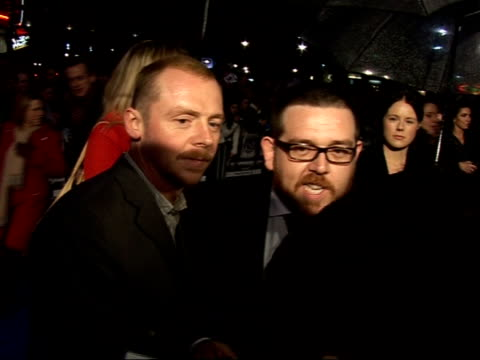 'hot fuzz' red carpet interviews at premiere simon pegg and nick frost speaking to press sot on film as mixture of 'miami vice' and 'heartbeat' /... - nick frost actor stock videos & royalty-free footage