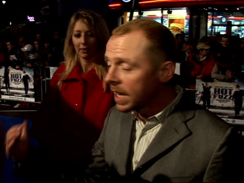 red carpet interviews at premiere; simon pegg interview sot - on the rain / on being a scriptwriter and writing himself dangerous action scenes / i... - scriptwriter stock videos & royalty-free footage