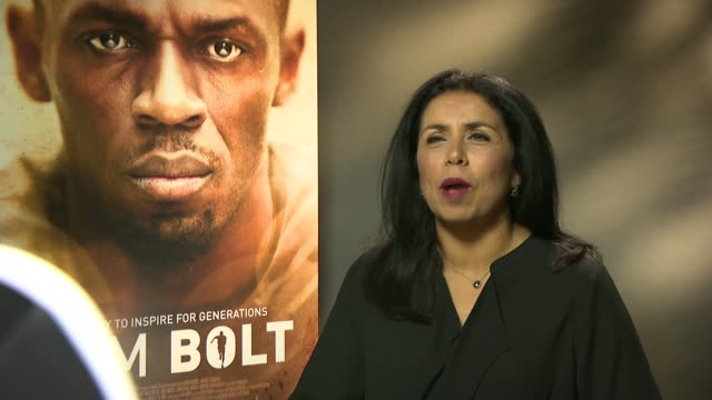 'i am bolt' documentary film premiere england london int reporter asking question sot usain bolt interview sot - ドキュメンタリー映画点の映像素材/bロール