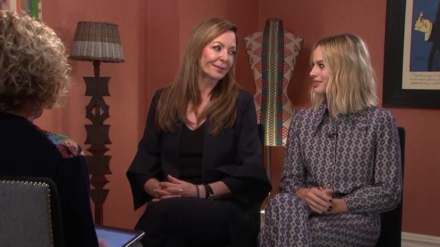 'I Tonya' Allison Janney and Margot Robbie interview ENGLAND London Margot Robbie interview SOT re Tony Harding CUTAWAY reporter