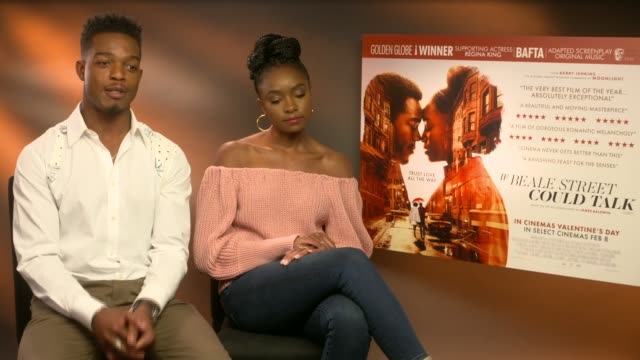 vídeos de stock, filmes e b-roll de if beale street could talk junket intv england london int stephen james and kiki layne interview re film if beale street could talk re delivering... - if beale street could talk