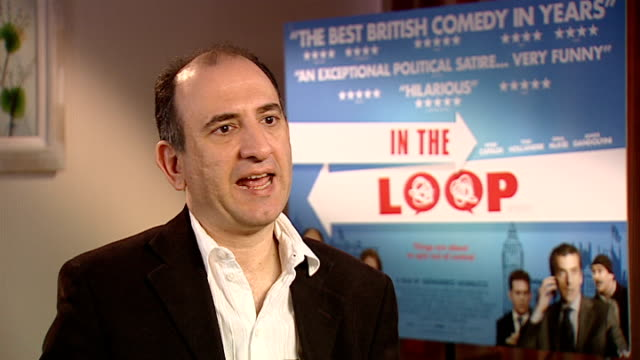 vídeos y material grabado en eventos de stock de 'in the loop' interviews armando iannucci interview continued sot - armando iannucci