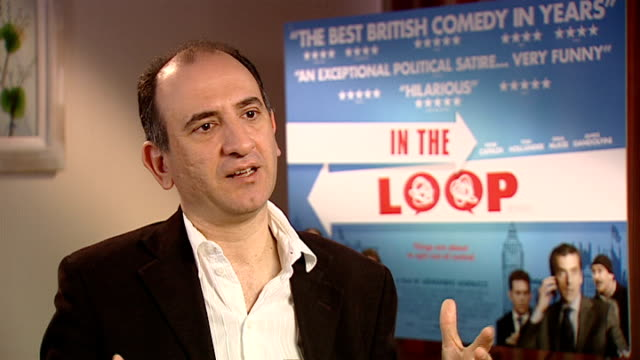 vídeos y material grabado en eventos de stock de 'in the loop' interviews armando iannucci interview sot discusses film in the loop - armando iannucci