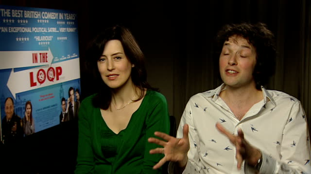 'in the loop' interviews chris addison and gina mckee interview continued sot - in the loop 2009 film stock videos and b-roll footage