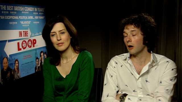 'in the loop' interviews england int chris addison and gina mckee interview sot discuss in the loop and roles they play in the film - in the loop 2009 film stock videos and b-roll footage