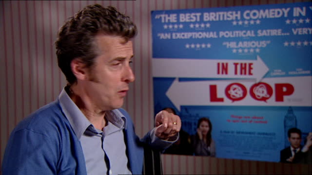 'in the loop' interviews peter capaldi interview continued sot - in the loop 2009 film stock videos and b-roll footage