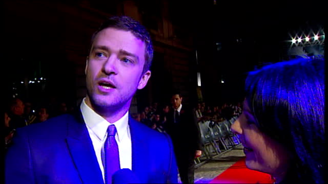 'in time' premiere; live justin timberlake interview on red carpet sot - on traffic in london / loving london - great food, great people / the film... - justin timberlake stock videos & royalty-free footage
