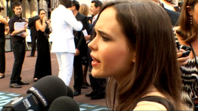 'Inception' London premiere celebrity arrivals and interviews Ellen Page speaking to press SOT
