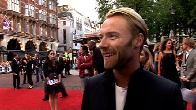 'inglourious basterds' premiere: red carpet interviews; christoph waltz speaking to reporter ronan keating interview sot - on being a fan of... - ronan keating stock videos & royalty-free footage