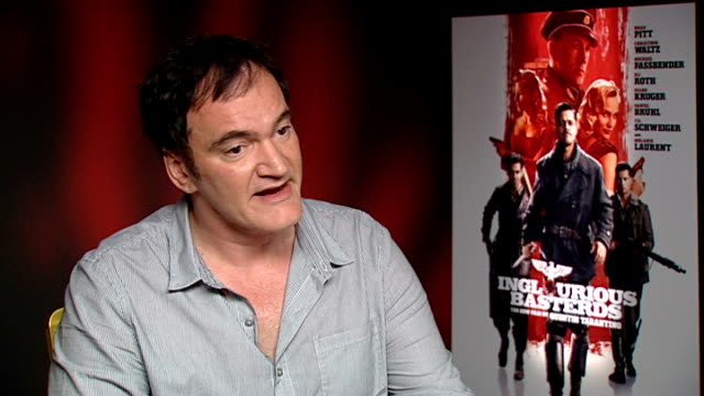vídeos de stock e filmes b-roll de 'inglourious basterds': quentin tarantino, diane kruger and christoph waltz interviews; quentin tarantino interview sot - on working on the film for... - quentin tarantino