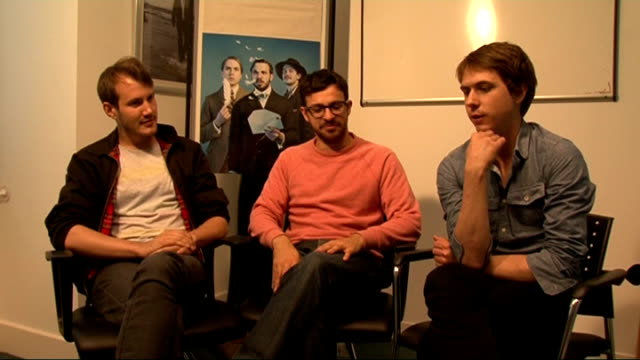 interview with cast of 'chickens' / dev interview; england: london: int jonny sweet , simon bird and joe thomas interview sot - on living together,... - sketch comedy stock videos & royalty-free footage