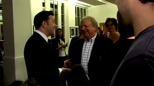 'invention of lying' gala screening in london celebrity interviews ricky gervais speaking to reporters as joined by john sergeant john sergeant... - film screening stock videos & royalty-free footage