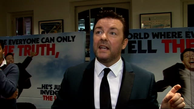 'invention of lying' gala screening in london: celebrity interviews; ricky gervais interview sot - on it being a vip screening, a little get-together... - ricky gervais stock videos & royalty-free footage