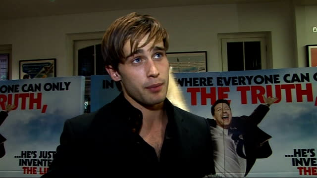'invention of lying' gala screening in london celebrity interviews christian cooke interview sot on starring in cemetery junction amazing experience... - film screening stock videos & royalty-free footage