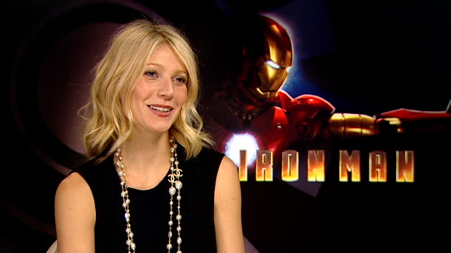 Film 'Iron Man' Gwyneth Paltrow and Robert Downey Jr interview ENGLAND London INT Gwyneth Paltrow interview SOT Not always been interested in comic...