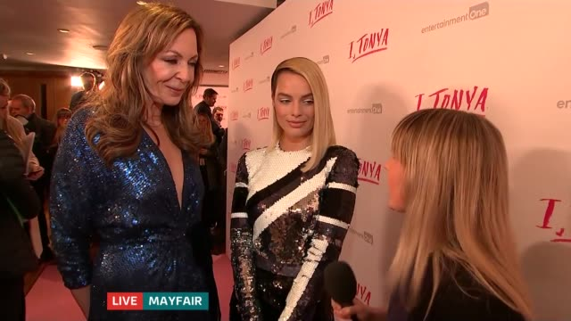 'ITonya' premiere ENGLAND London Mayfair Reporter to camera Margot Robbie and Allison Janney LIVE red carpet interview SOT