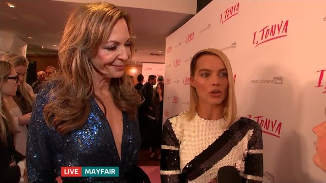 'ITonya' premiere ENGLAND London Mayfair INT Margot Robbie and Allison Janney LIVE red carpet interview SOT Reporter to camera