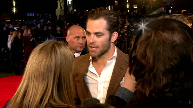 jack ryan shadow recruit film premiere arrivals various chris pine as interviewed on red carpet / pine on camera monitor / pine interviewed and seen... - lycra stock videos & royalty-free footage