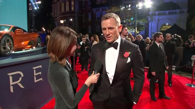 James Bond film 'Spectre' film premiere Red carpet interviews Daniel Craig interview on red carpet with reporter in shot SOT [ends abruptly]