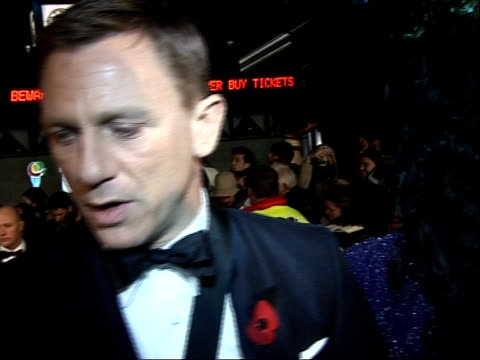 james bond 'quantum of solace' premiere in london red carpet arrivals and interviews daniel craig interview with girlfriend satsuki mitchell partly... - daniel craig stock videos and b-roll footage