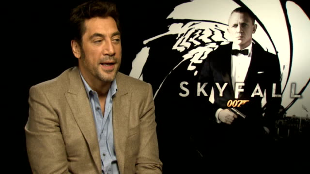 james bond 'skyfall' interview javier bardem england london int jarvier bardem interview sot on being proud of the movie quality script tried to... - skyfall 2012 film stock videos and b-roll footage