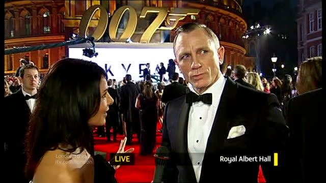 James Bond 'Skyfall' premiere Daniel Craig LIVE interview on red carpet with reporter in shot SOT
