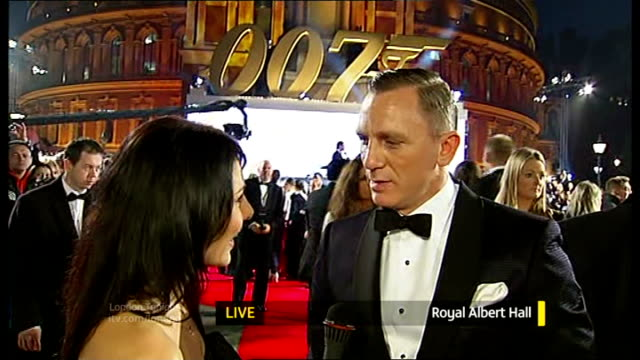 james bond 'skyfall' premiere daniel craig live interview on red carpet with reporter in shot sot - skyfall 2012 film stock videos and b-roll footage